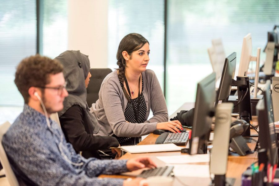 Young people in computer lab